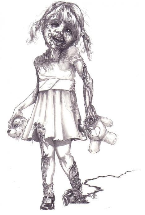 Samurai skull colouring pages page 2 - Zombie Girl By James Garza Zombie Research Society